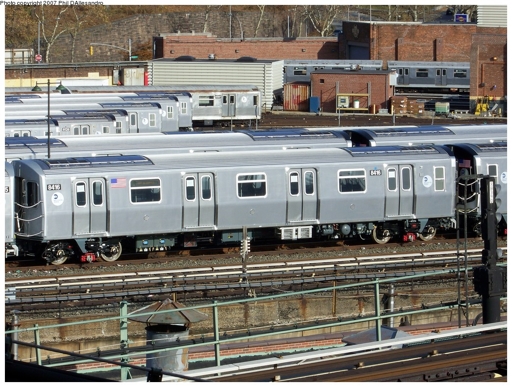 (334k, 1044x788)<br><b>Country:</b> United States<br><b>City:</b> New York<br><b>System:</b> New York City Transit<br><b>Location:</b> East New York Yard/Shops<br><b>Car:</b> R-160A-1 (Alstom, 2005-2008, 4 car sets)  8416 <br><b>Photo by:</b> Philip D'Allesandro<br><b>Date:</b> 12/1/2007<br><b>Viewed (this week/total):</b> 2 / 2223