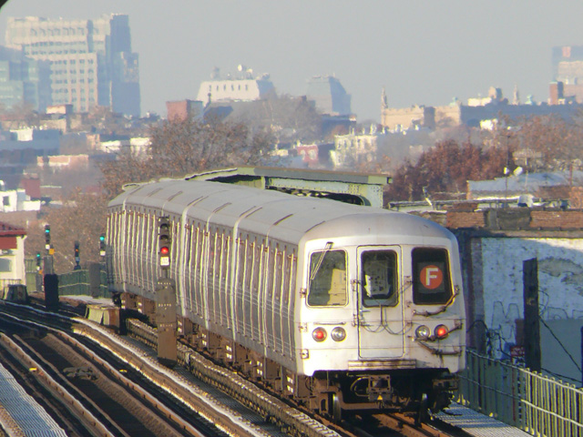 (190k, 640x480)<br><b>Country:</b> United States<br><b>City:</b> New York<br><b>System:</b> New York City Transit<br><b>Line:</b> BMT Culver Line<br><b>Location:</b> Avenue I <br><b>Route:</b> F<br><b>Car:</b> R-46 (Pullman-Standard, 1974-75)  <br><b>Photo by:</b> John Urbanski<br><b>Date:</b> 11/29/2007<br><b>Viewed (this week/total):</b> 0 / 1470