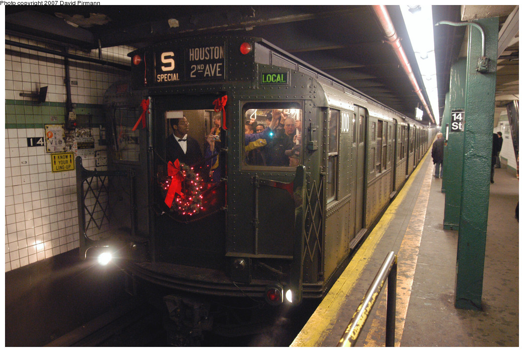 (283k, 1044x701)<br><b>Country:</b> United States<br><b>City:</b> New York<br><b>System:</b> New York City Transit<br><b>Line:</b> IND 6th Avenue Line<br><b>Location:</b> 14th Street <br><b>Route:</b> Museum Train Service (V)<br><b>Car:</b> R-1 (American Car & Foundry, 1930-1931) 100 <br><b>Photo by:</b> David Pirmann<br><b>Date:</b> 12/9/2007<br><b>Notes:</b> Train in regular Nostalgia Train service, not technically a fan trip.<br><b>Viewed (this week/total):</b> 0 / 1995