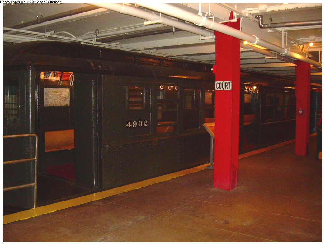 (286k, 1044x788)<br><b>Country:</b> United States<br><b>City:</b> New York<br><b>System:</b> New York City Transit<br><b>Location:</b> New York Transit Museum<br><b>Car:</b> Low-V 4902 <br><b>Photo by:</b> Zach Summer<br><b>Date:</b> 8/18/2007<br><b>Viewed (this week/total):</b> 1 / 1322