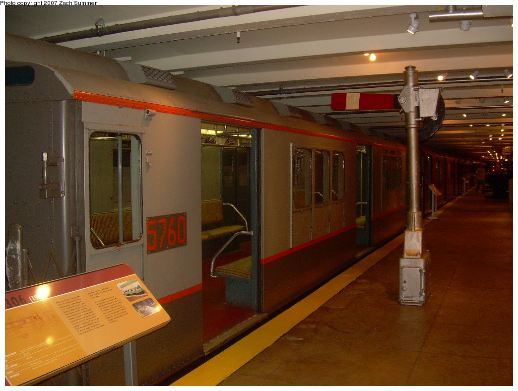 (257k, 1044x788)<br><b>Country:</b> United States<br><b>City:</b> New York<br><b>System:</b> New York City Transit<br><b>Location:</b> New York Transit Museum<br><b>Car:</b> R-12 (American Car & Foundry, 1948) 5760 <br><b>Photo by:</b> Zach Summer<br><b>Date:</b> 8/18/2007<br><b>Viewed (this week/total):</b> 1 / 1458