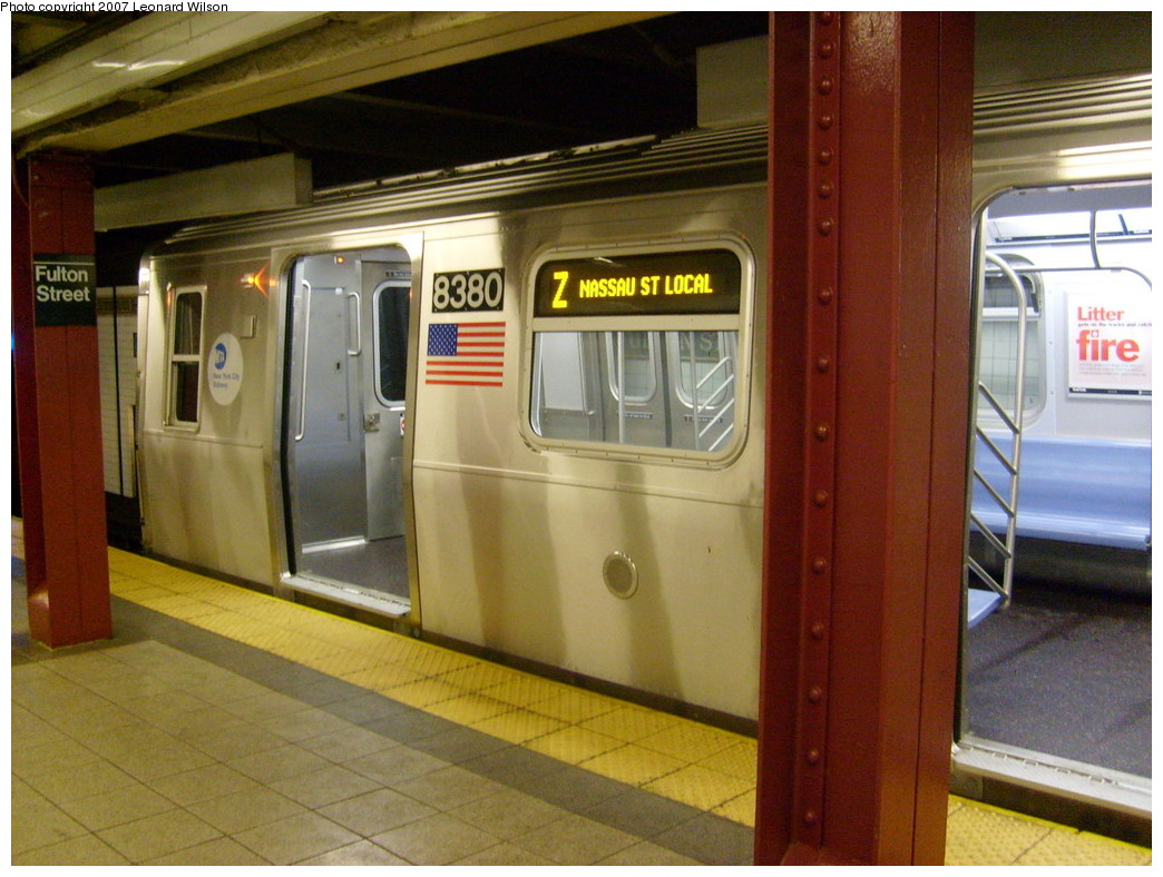 (251k, 1044x788)<br><b>Country:</b> United States<br><b>City:</b> New York<br><b>System:</b> New York City Transit<br><b>Line:</b> BMT Nassau Street/Jamaica Line<br><b>Location:</b> Fulton Street <br><b>Route:</b> Z<br><b>Car:</b> R-160A-1 (Alstom, 2005-2008, 4 car sets)  8380 <br><b>Photo by:</b> Leonard Wilson<br><b>Date:</b> 9/7/2007<br><b>Viewed (this week/total):</b> 4 / 3451