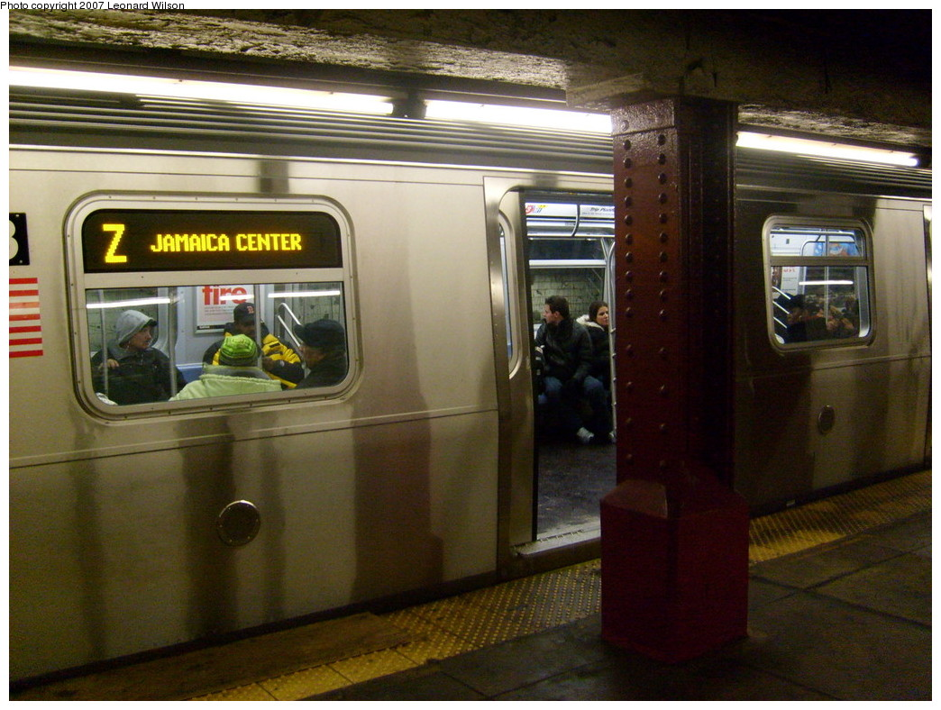 (258k, 1044x788)<br><b>Country:</b> United States<br><b>City:</b> New York<br><b>System:</b> New York City Transit<br><b>Line:</b> BMT Nassau Street/Jamaica Line<br><b>Location:</b> Bowery <br><b>Route:</b> Z<br><b>Car:</b> R-160A-1 (Alstom, 2005-2008, 4 car sets)   <br><b>Photo by:</b> Leonard Wilson<br><b>Date:</b> 9/7/2007<br><b>Viewed (this week/total):</b> 1 / 3538