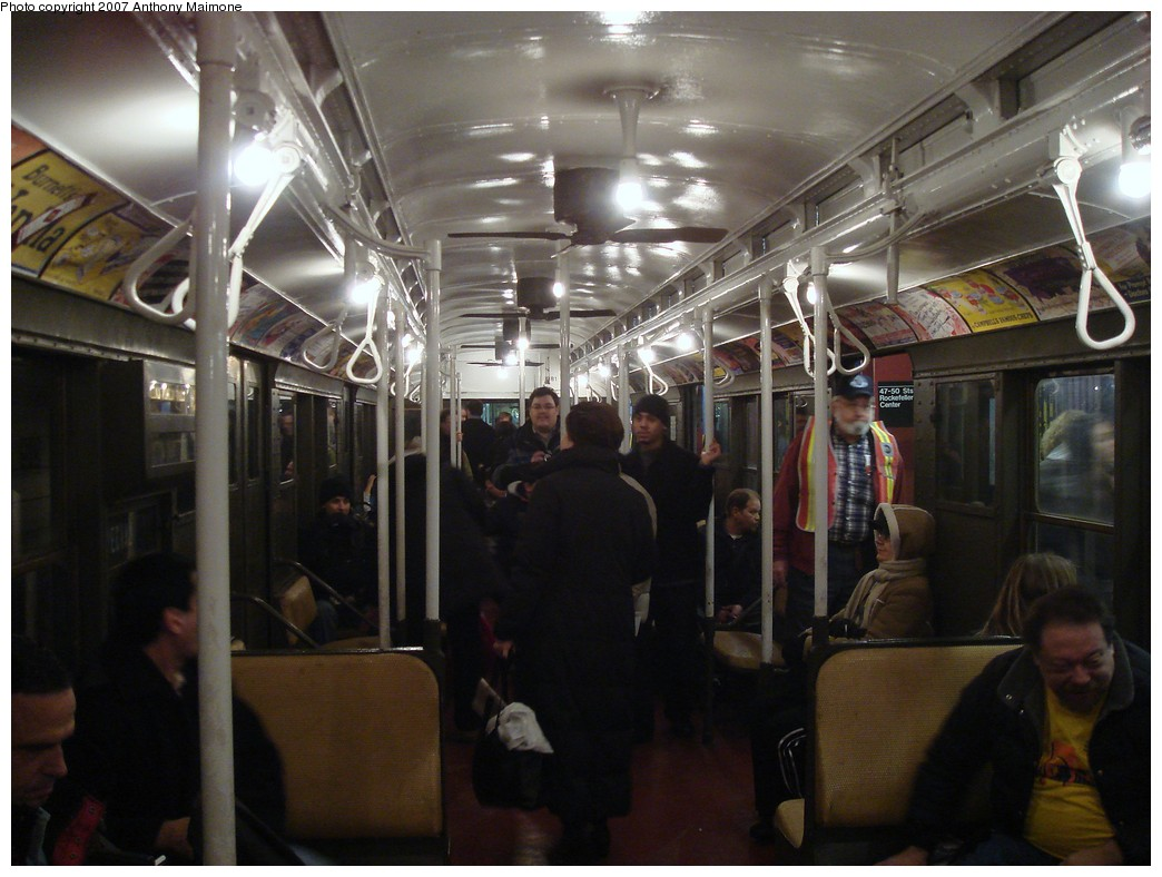 (188k, 1044x788)<br><b>Country:</b> United States<br><b>City:</b> New York<br><b>System:</b> New York City Transit<br><b>Route:</b> Museum Train Service (V)<br><b>Car:</b> R-1 (American Car & Foundry, 1930-1931) 381 <br><b>Photo by:</b> Anthony Maimone<br><b>Date:</b> 12/9/2007<br><b>Notes:</b> Train in regular Nostalgia Train service, not technically a fan trip.<br><b>Viewed (this week/total):</b> 1 / 1008