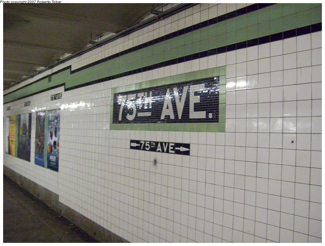 (198k, 1044x790)<br><b>Country:</b> United States<br><b>City:</b> New York<br><b>System:</b> New York City Transit<br><b>Line:</b> IND Queens Boulevard Line<br><b>Location:</b> 75th Avenue <br><b>Photo by:</b> Roberto C. Tobar<br><b>Date:</b> 12/14/2007<br><b>Viewed (this week/total):</b> 3 / 756