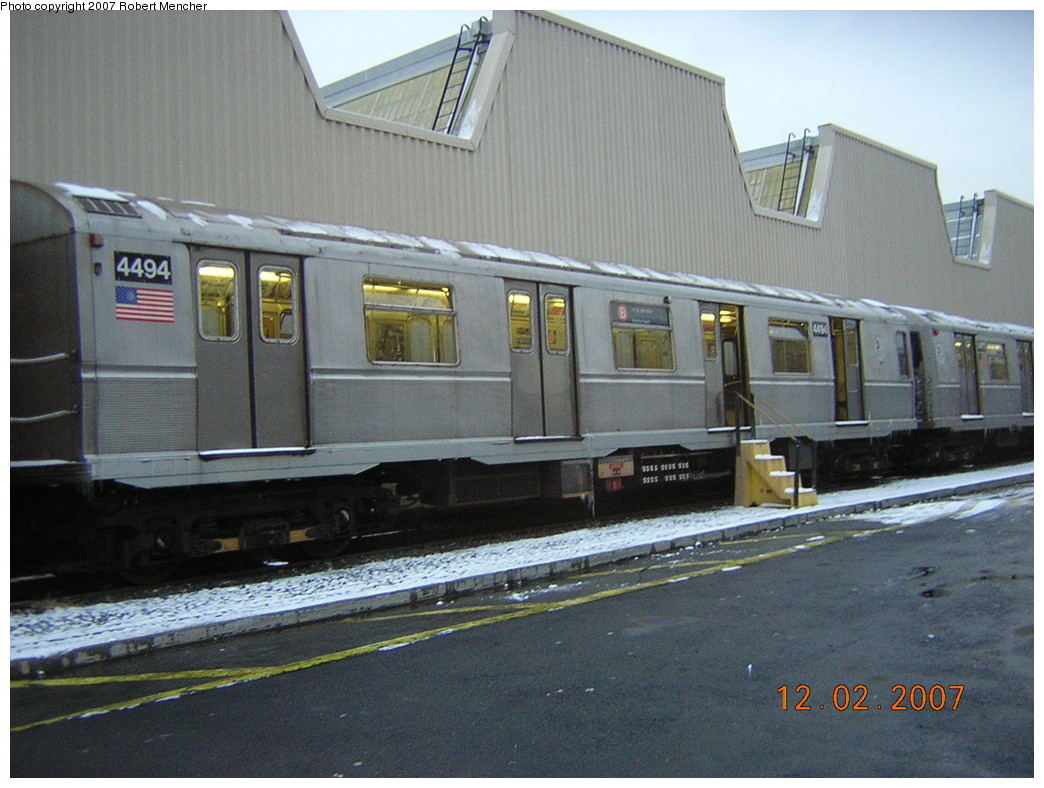 (250k, 1044x788)<br><b>Country:</b> United States<br><b>City:</b> New York<br><b>System:</b> New York City Transit<br><b>Location:</b> Coney Island Yard<br><b>Car:</b> R-40M (St. Louis, 1969)  4494 <br><b>Photo by:</b> Robert Mencher<br><b>Date:</b> 12/2/2007<br><b>Viewed (this week/total):</b> 1 / 1414
