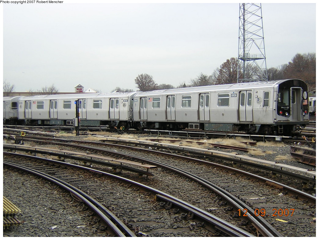 (295k, 1044x788)<br><b>Country:</b> United States<br><b>City:</b> New York<br><b>System:</b> New York City Transit<br><b>Location:</b> East New York Yard/Shops<br><b>Car:</b> R-143 (Kawasaki, 2001-2002) 8109 <br><b>Photo by:</b> Robert Mencher<br><b>Date:</b> 12/9/2007<br><b>Viewed (this week/total):</b> 0 / 1955