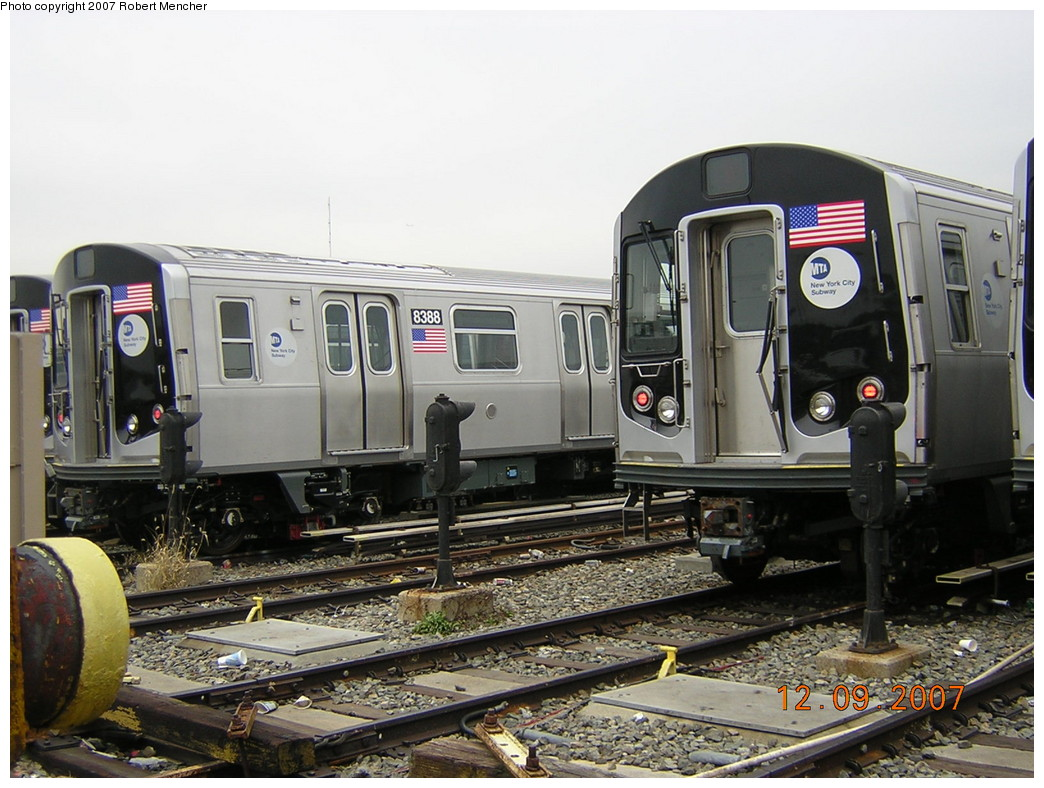 (255k, 1044x788)<br><b>Country:</b> United States<br><b>City:</b> New York<br><b>System:</b> New York City Transit<br><b>Location:</b> East New York Yard/Shops<br><b>Car:</b> R-160A-1 (Alstom, 2005-2008, 4 car sets)  8388 <br><b>Photo by:</b> Robert Mencher<br><b>Date:</b> 12/9/2007<br><b>Viewed (this week/total):</b> 3 / 1205