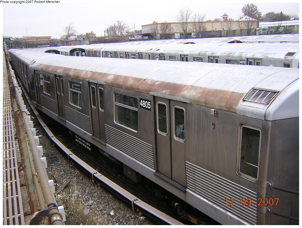 (283k, 1044x788)<br><b>Country:</b> United States<br><b>City:</b> New York<br><b>System:</b> New York City Transit<br><b>Location:</b> East New York Yard/Shops<br><b>Car:</b> R-42 (St. Louis, 1969-1970)  4805 <br><b>Photo by:</b> Robert Mencher<br><b>Date:</b> 12/9/2007<br><b>Viewed (this week/total):</b> 0 / 950