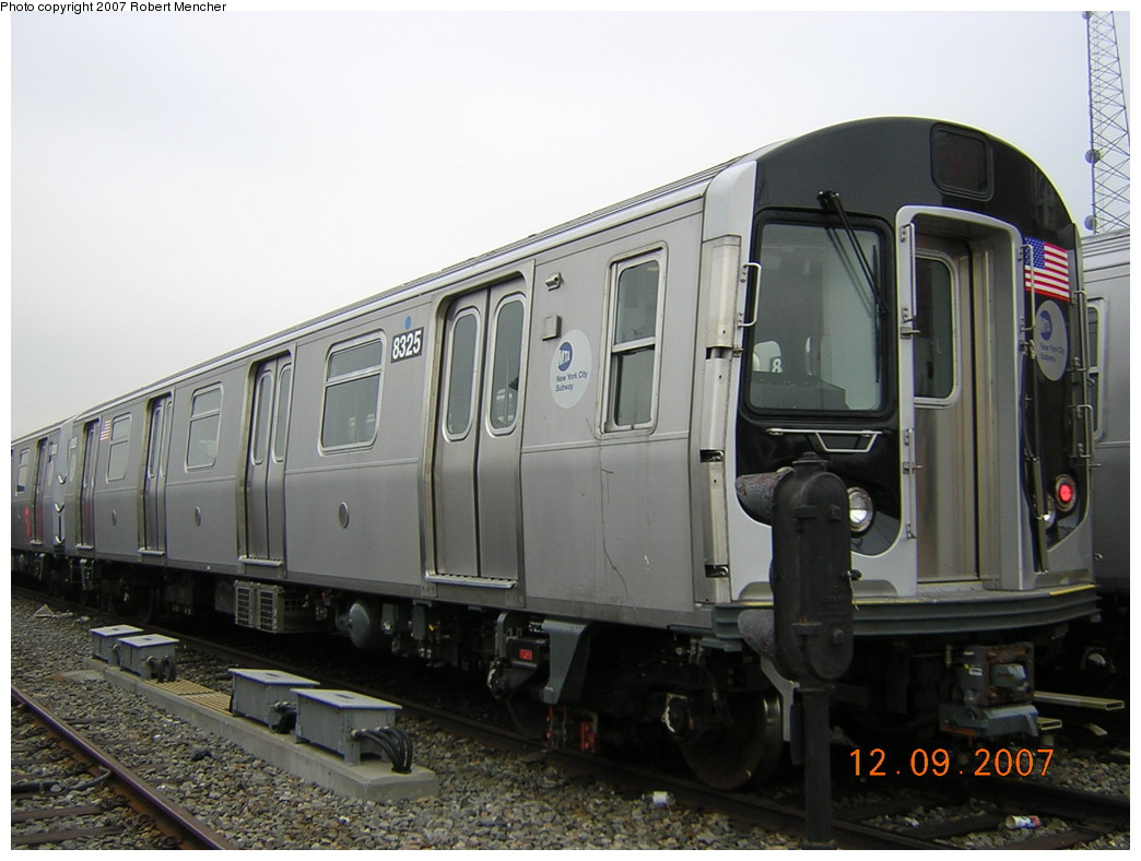 (212k, 1044x788)<br><b>Country:</b> United States<br><b>City:</b> New York<br><b>System:</b> New York City Transit<br><b>Location:</b> East New York Yard/Shops<br><b>Car:</b> R-160A-1 (Alstom, 2005-2008, 4 car sets)  8325 <br><b>Photo by:</b> Robert Mencher<br><b>Date:</b> 12/9/2007<br><b>Viewed (this week/total):</b> 1 / 1388
