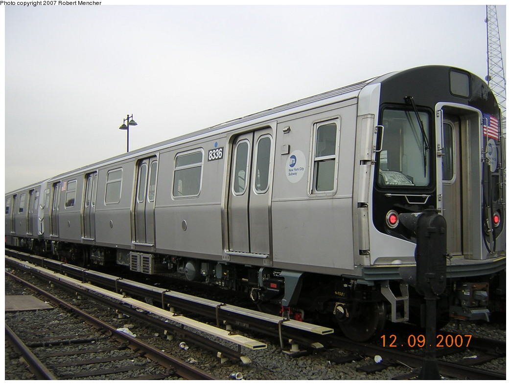(221k, 1044x788)<br><b>Country:</b> United States<br><b>City:</b> New York<br><b>System:</b> New York City Transit<br><b>Location:</b> East New York Yard/Shops<br><b>Car:</b> R-160A-1 (Alstom, 2005-2008, 4 car sets)  8336 <br><b>Photo by:</b> Robert Mencher<br><b>Date:</b> 12/9/2007<br><b>Viewed (this week/total):</b> 3 / 1069