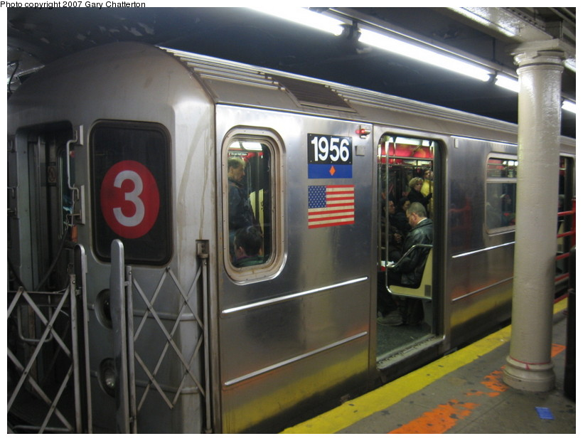 (121k, 820x620)<br><b>Country:</b> United States<br><b>City:</b> New York<br><b>System:</b> New York City Transit<br><b>Line:</b> IRT Times Square-Grand Central Shuttle<br><b>Location:</b> Times Square <br><b>Route:</b> S (Wrong sign)<br><b>Car:</b> R-62A (Bombardier, 1984-1987)  1956 <br><b>Photo by:</b> Gary Chatterton<br><b>Date:</b> 12/18/2007<br><b>Viewed (this week/total):</b> 8 / 2737