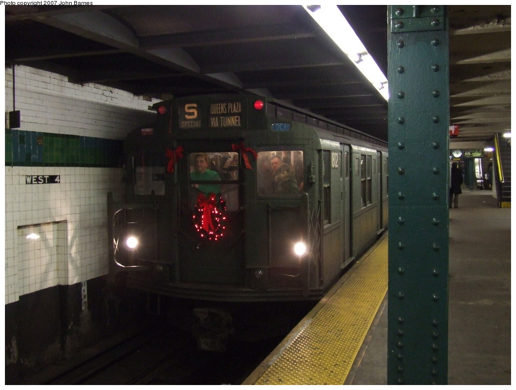 (182k, 1044x788)<br><b>Country:</b> United States<br><b>City:</b> New York<br><b>System:</b> New York City Transit<br><b>Line:</b> IND 6th Avenue Line<br><b>Location:</b> West 4th Street/Washington Square <br><b>Route:</b> Museum Train Service (V)<br><b>Car:</b> R-9 (Pressed Steel, 1940)  1802 <br><b>Photo by:</b> John Barnes<br><b>Date:</b> 12/16/2007<br><b>Notes:</b> Train in regular Nostalgia Train service - not technically a fan trip.<br><b>Viewed (this week/total):</b> 0 / 1304