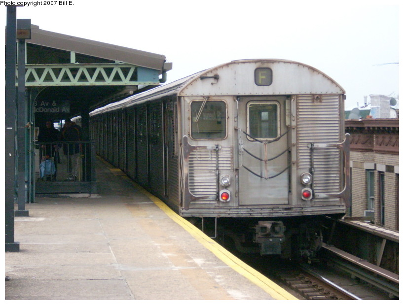 (157k, 819x619)<br><b>Country:</b> United States<br><b>City:</b> New York<br><b>System:</b> New York City Transit<br><b>Line:</b> BMT Culver Line<br><b>Location:</b> 18th Avenue <br><b>Route:</b> F<br><b>Car:</b> R-32 (Budd, 1964)  3353 <br><b>Photo by:</b> Bill E.<br><b>Date:</b> 12/22/2007<br><b>Viewed (this week/total):</b> 1 / 1366