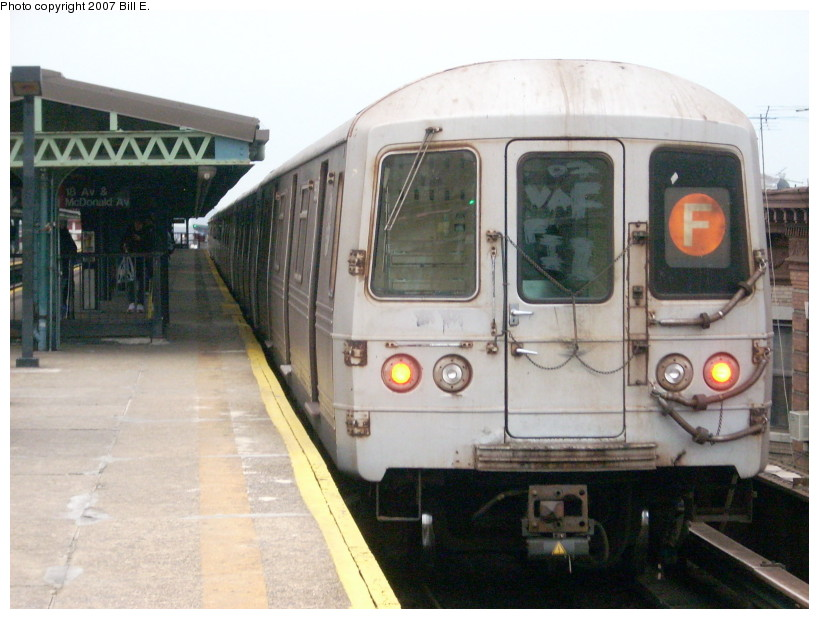 (157k, 819x619)<br><b>Country:</b> United States<br><b>City:</b> New York<br><b>System:</b> New York City Transit<br><b>Line:</b> BMT Culver Line<br><b>Location:</b> 18th Avenue <br><b>Route:</b> F<br><b>Car:</b> R-46 (Pullman-Standard, 1974-75)  <br><b>Photo by:</b> Bill E.<br><b>Date:</b> 12/22/2007<br><b>Viewed (this week/total):</b> 1 / 1194