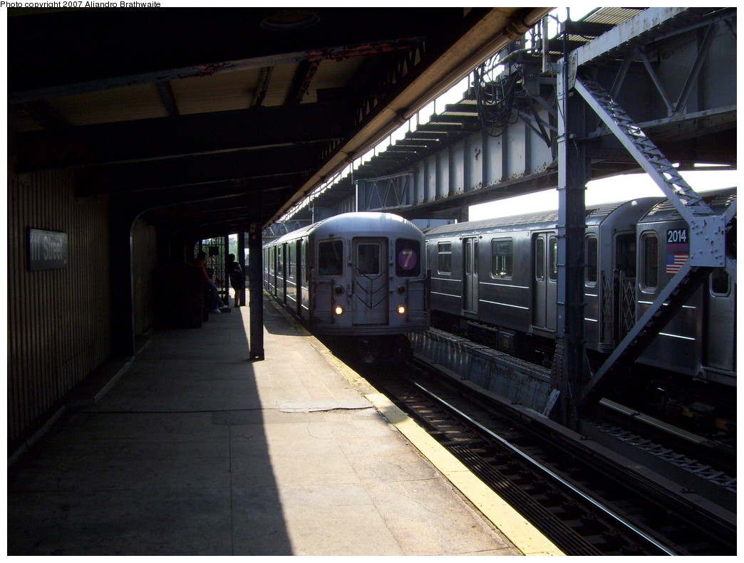 (222k, 1044x791)<br><b>Country:</b> United States<br><b>City:</b> New York<br><b>System:</b> New York City Transit<br><b>Line:</b> IRT Flushing Line<br><b>Location:</b> 111th Street <br><b>Route:</b> 7<br><b>Car:</b> R-62A (Bombardier, 1984-1987)  2014 <br><b>Photo by:</b> Aliandro Brathwaite<br><b>Date:</b> 6/28/2007<br><b>Viewed (this week/total):</b> 1 / 2056
