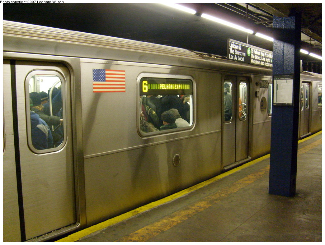(264k, 1044x788)<br><b>Country:</b> United States<br><b>City:</b> New York<br><b>System:</b> New York City Transit<br><b>Line:</b> IRT East Side Line<br><b>Location:</b> 68th Street <br><b>Route:</b> 6<br><b>Car:</b> R-142A (Primary Order, Kawasaki, 1999-2002)  7489 <br><b>Photo by:</b> Leonard Wilson<br><b>Date:</b> 9/21/2007<br><b>Viewed (this week/total):</b> 4 / 2676