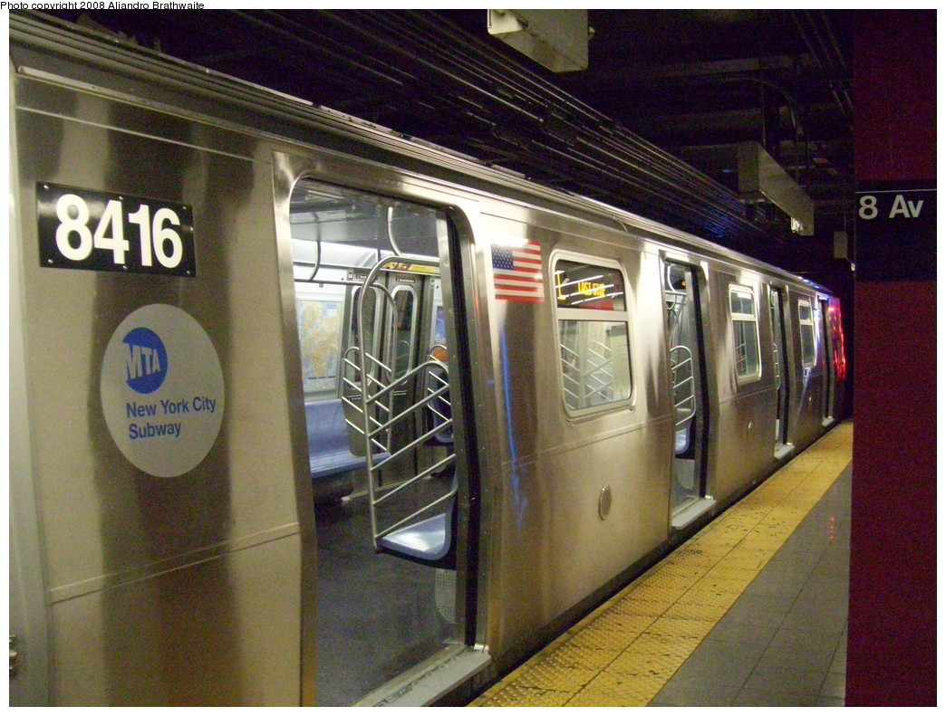 (276k, 1044x791)<br><b>Country:</b> United States<br><b>City:</b> New York<br><b>System:</b> New York City Transit<br><b>Line:</b> BMT Canarsie Line<br><b>Location:</b> 8th Avenue <br><b>Route:</b> L<br><b>Car:</b> R-160A-1 (Alstom, 2005-2008, 4 car sets)  8416 <br><b>Photo by:</b> Aliandro Brathwaite<br><b>Date:</b> 12/24/2007<br><b>Viewed (this week/total):</b> 1 / 1595