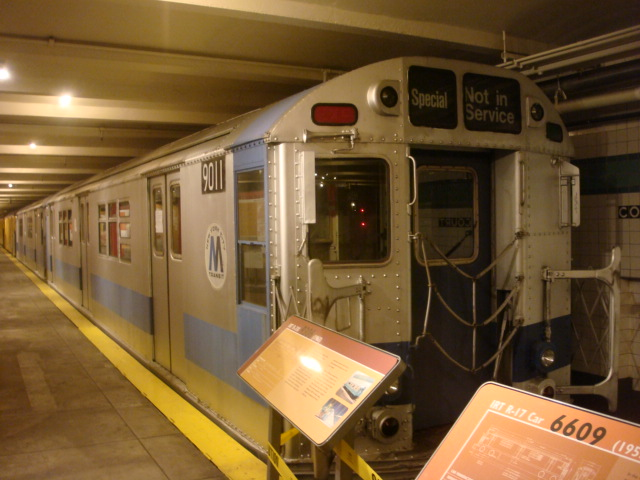 (109k, 640x480)<br><b>Country:</b> United States<br><b>City:</b> New York<br><b>System:</b> New York City Transit<br><b>Location:</b> New York Transit Museum<br><b>Car:</b> R-33 Main Line (St. Louis, 1962-63) 9011 <br><b>Photo by:</b> Danny Molina<br><b>Date:</b> 1/9/2008<br><b>Viewed (this week/total):</b> 3 / 3082
