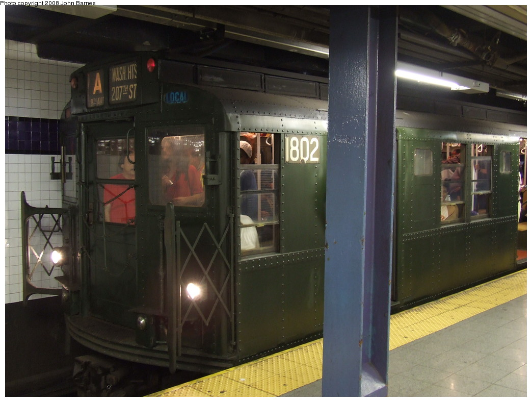 (188k, 1044x788)<br><b>Country:</b> United States<br><b>City:</b> New York<br><b>System:</b> New York City Transit<br><b>Line:</b> IND 8th Avenue Line<br><b>Location:</b> Chambers Street/World Trade Center <br><b>Route:</b> Fan Trip<br><b>Car:</b> R-9 (Pressed Steel, 1940)  1802 <br><b>Photo by:</b> John Barnes<br><b>Date:</b> 9/10/2007<br><b>Notes:</b> IND 75th Anniversary special.<br><b>Viewed (this week/total):</b> 0 / 1182