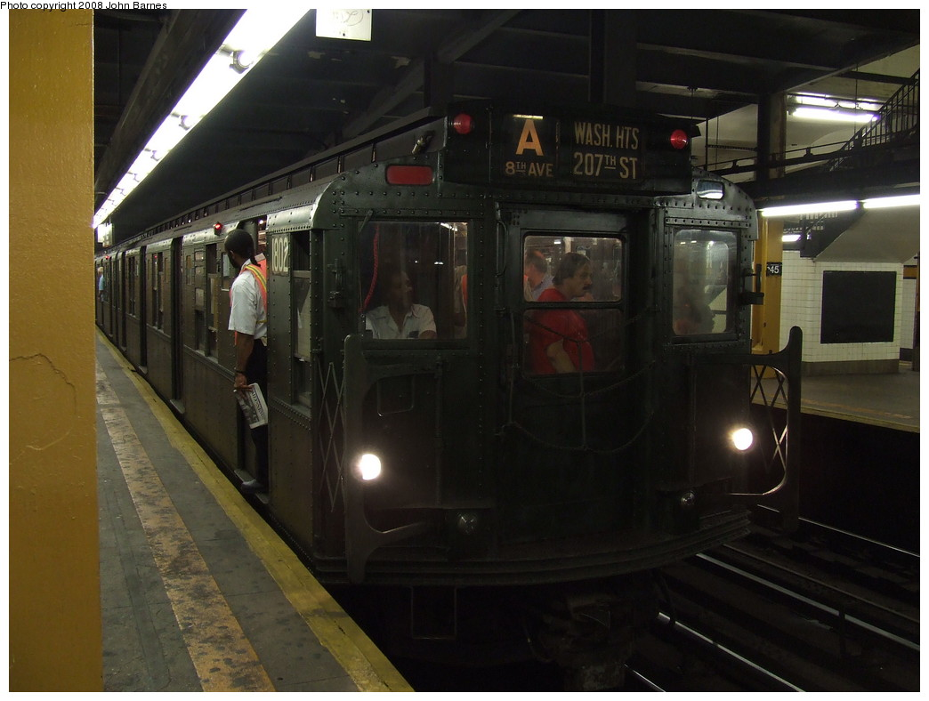 (181k, 1044x788)<br><b>Country:</b> United States<br><b>City:</b> New York<br><b>System:</b> New York City Transit<br><b>Line:</b> IND 8th Avenue Line<br><b>Location:</b> 145th Street <br><b>Route:</b> Fan Trip<br><b>Car:</b> R-9 (Pressed Steel, 1940)  1802 <br><b>Photo by:</b> John Barnes<br><b>Date:</b> 9/10/2007<br><b>Notes:</b> IND 75th Anniversary special.<br><b>Viewed (this week/total):</b> 0 / 1860