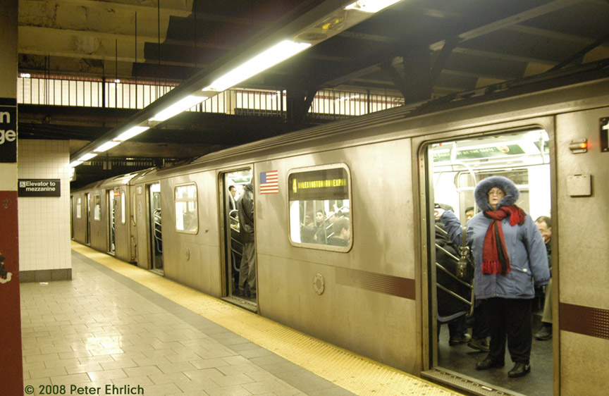 (178k, 864x562)<br><b>Country:</b> United States<br><b>City:</b> New York<br><b>System:</b> New York City Transit<br><b>Line:</b> IRT East Side Line<br><b>Location:</b> Brooklyn Bridge/City Hall <br><b>Route:</b> 4<br><b>Car:</b> R-142 (Option Order, Bombardier, 2002-2003)  1181 <br><b>Photo by:</b> Peter Ehrlich<br><b>Date:</b> 1/3/2008<br><b>Notes:</b> Brooklyn Bridge.  Line 4 southbound.<br><b>Viewed (this week/total):</b> 3 / 3890