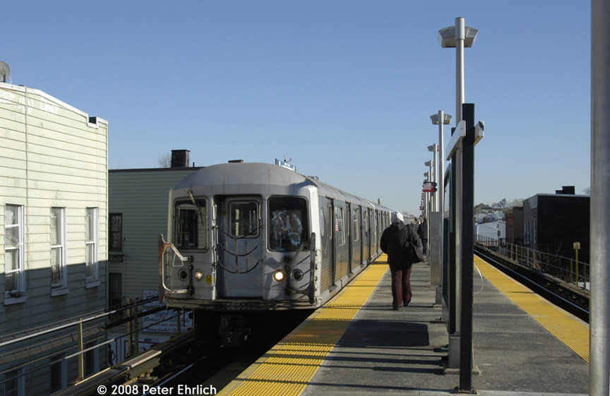 (145k, 864x561)<br><b>Country:</b> United States<br><b>City:</b> New York<br><b>System:</b> New York City Transit<br><b>Line:</b> BMT Nassau Street/Jamaica Line<br><b>Location:</b> Cleveland Street <br><b>Route:</b> J<br><b>Car:</b> R-42 (St. Louis, 1969-1970)  4710 <br><b>Photo by:</b> Peter Ehrlich<br><b>Date:</b> 1/3/2008<br><b>Notes:</b> Cleveland Street inbound.<br><b>Viewed (this week/total):</b> 1 / 1138