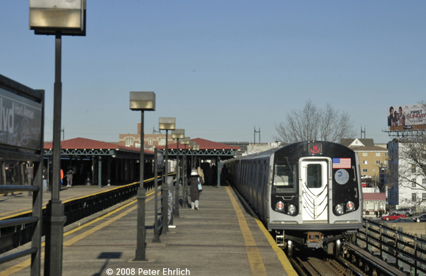 (144k, 864x559)<br><b>Country:</b> United States<br><b>City:</b> New York<br><b>System:</b> New York City Transit<br><b>Line:</b> BMT Astoria Line<br><b>Location:</b> Astoria Boulevard/Hoyt Avenue <br><b>Route:</b> N<br><b>Car:</b> R-160B (Kawasaki, 2005-2008)  8878 <br><b>Photo by:</b> Peter Ehrlich<br><b>Date:</b> 1/3/2008<br><b>Notes:</b> Leaving Astoria Blvd. outbound, trailing view.<br><b>Viewed (this week/total):</b> 1 / 1302
