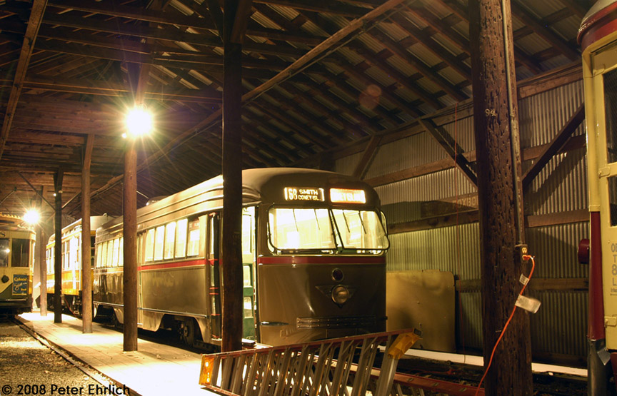 (211k, 864x555)<br><b>Country:</b> United States<br><b>City:</b> East Haven/Branford, Ct.<br><b>System:</b> Shore Line Trolley Museum <br><b>Car:</b> Brooklyn & Queens Transit PCC (St. Louis Car, 1936)  1001 <br><b>Photo by:</b> Peter Ehrlich<br><b>Date:</b> 12/23/2007<br><b>Notes:</b> Brooklyn & Queens Transit PCC.<br><b>Viewed (this week/total):</b> 3 / 701