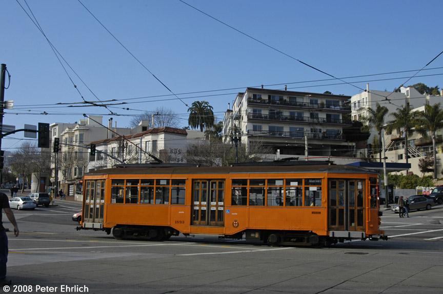 (173k, 864x574)<br><b>Country:</b> United States<br><b>City:</b> San Francisco/Bay Area, CA<br><b>System:</b> SF MUNI<br><b>Location:</b> Market/17th/Castro <br><b>Car:</b> Milan Milano/Peter Witt (1927-1930)  1893 <br><b>Photo by:</b> Peter Ehrlich<br><b>Date:</b> 1/12/2008<br><b>Viewed (this week/total):</b> 0 / 640