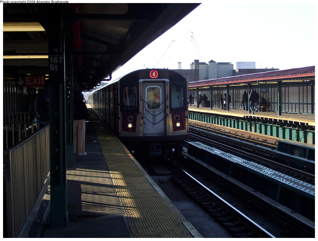 (214k, 1044x791)<br><b>Country:</b> United States<br><b>City:</b> New York<br><b>System:</b> New York City Transit<br><b>Line:</b> IRT Woodlawn Line<br><b>Location:</b> 167th Street <br><b>Route:</b> 4<br><b>Car:</b> R-142 (Option Order, Bombardier, 2002-2003)  1200 <br><b>Photo by:</b> Aliandro Brathwaite<br><b>Date:</b> 12/31/2007<br><b>Viewed (this week/total):</b> 1 / 2297