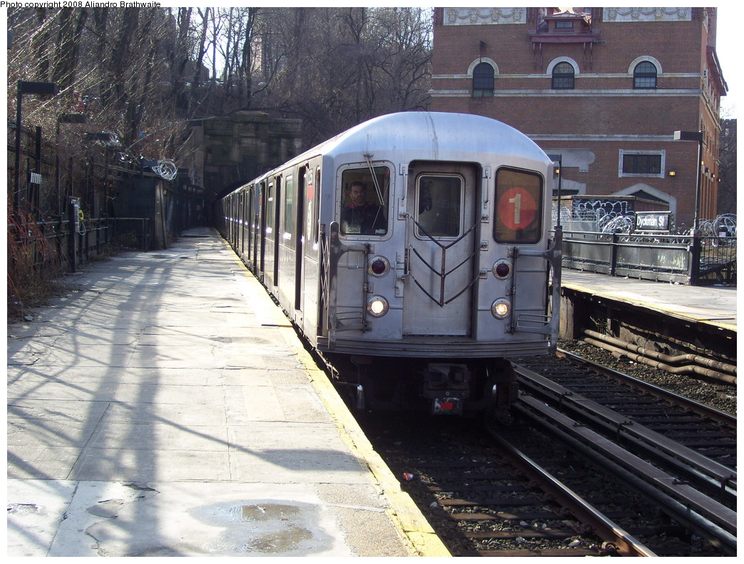 (295k, 1044x791)<br><b>Country:</b> United States<br><b>City:</b> New York<br><b>System:</b> New York City Transit<br><b>Line:</b> IRT West Side Line<br><b>Location:</b> Dyckman Street <br><b>Route:</b> 1<br><b>Car:</b> R-62A (Bombardier, 1984-1987)  2196 <br><b>Photo by:</b> Aliandro Brathwaite<br><b>Date:</b> 12/31/2007<br><b>Viewed (this week/total):</b> 0 / 1552