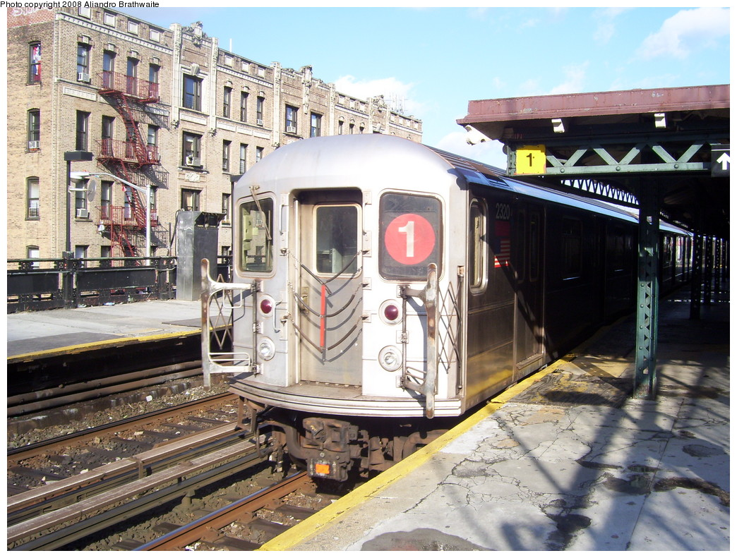 (304k, 1044x791)<br><b>Country:</b> United States<br><b>City:</b> New York<br><b>System:</b> New York City Transit<br><b>Line:</b> IRT West Side Line<br><b>Location:</b> Dyckman Street <br><b>Route:</b> 1<br><b>Car:</b> R-62A (Bombardier, 1984-1987)  2320 <br><b>Photo by:</b> Aliandro Brathwaite<br><b>Date:</b> 12/31/2007<br><b>Viewed (this week/total):</b> 1 / 1391
