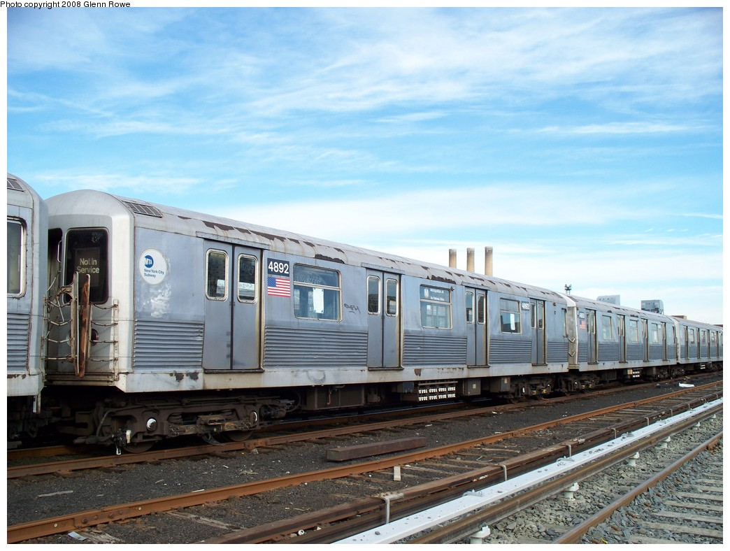 (218k, 1044x788)<br><b>Country:</b> United States<br><b>City:</b> New York<br><b>System:</b> New York City Transit<br><b>Location:</b> 207th Street Yard<br><b>Car:</b> R-42 (St. Louis, 1969-1970)  4892 <br><b>Photo by:</b> Glenn L. Rowe<br><b>Date:</b> 1/17/2008<br><b>Viewed (this week/total):</b> 0 / 1413