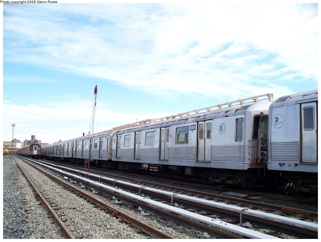 (218k, 1044x788)<br><b>Country:</b> United States<br><b>City:</b> New York<br><b>System:</b> New York City Transit<br><b>Location:</b> 207th Street Yard<br><b>Car:</b> R-42 (St. Louis, 1969-1970)  4904 <br><b>Photo by:</b> Glenn L. Rowe<br><b>Date:</b> 1/17/2008<br><b>Viewed (this week/total):</b> 0 / 1213