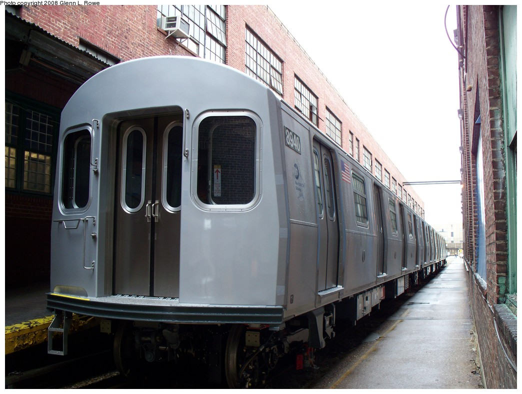 (211k, 1044x788)<br><b>Country:</b> United States<br><b>City:</b> New York<br><b>System:</b> New York City Transit<br><b>Location:</b> 207th Street Yard<br><b>Car:</b> R-160B (Kawasaki, 2005-2008)  8940 <br><b>Photo by:</b> Glenn L. Rowe<br><b>Date:</b> 1/30/2008<br><b>Viewed (this week/total):</b> 0 / 3413