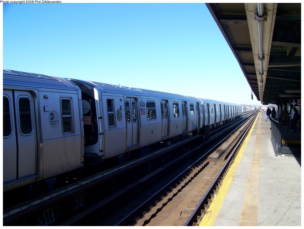 (183k, 1044x788)<br><b>Country:</b> United States<br><b>City:</b> New York<br><b>System:</b> New York City Transit<br><b>Line:</b> BMT Culver Line<br><b>Location:</b> Avenue X <br><b>Route:</b> Testing<br><b>Car:</b> R-143 (Kawasaki, 2001-2002) 8176 <br><b>Photo by:</b> Philip D'Allesandro<br><b>Date:</b> 1/23/2008<br><b>Viewed (this week/total):</b> 3 / 1521