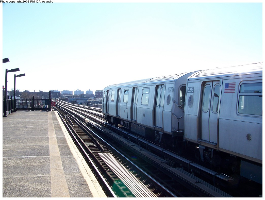 (195k, 1044x788)<br><b>Country:</b> United States<br><b>City:</b> New York<br><b>System:</b> New York City Transit<br><b>Line:</b> BMT Culver Line<br><b>Location:</b> Avenue X <br><b>Route:</b> Testing<br><b>Car:</b> R-143 (Kawasaki, 2001-2002) 8216 <br><b>Photo by:</b> Philip D'Allesandro<br><b>Date:</b> 1/23/2008<br><b>Viewed (this week/total):</b> 1 / 1490