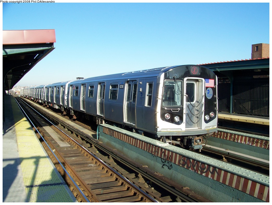 (242k, 1044x788)<br><b>Country:</b> United States<br><b>City:</b> New York<br><b>System:</b> New York City Transit<br><b>Line:</b> BMT Nassau Street/Jamaica Line<br><b>Location:</b> Chauncey Street <br><b>Route:</b> Z<br><b>Car:</b> R-160A-1 (Alstom, 2005-2008, 4 car sets)  8316 <br><b>Photo by:</b> Philip D'Allesandro<br><b>Date:</b> 1/23/2008<br><b>Viewed (this week/total):</b> 0 / 1908