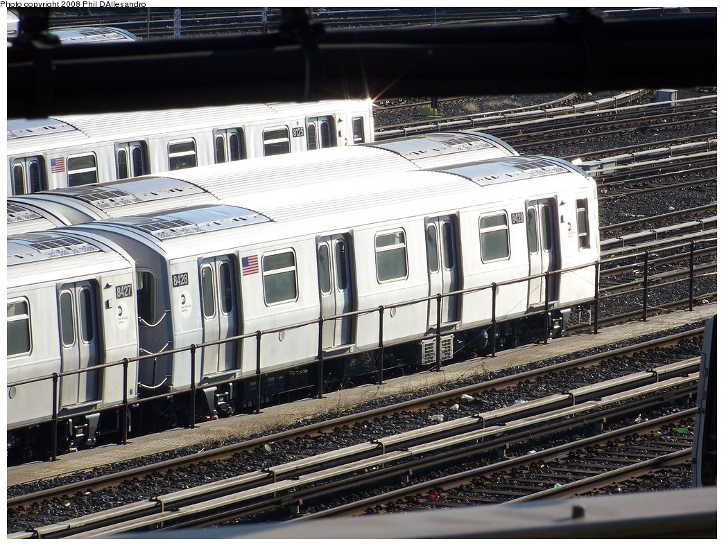 (293k, 1044x788)<br><b>Country:</b> United States<br><b>City:</b> New York<br><b>System:</b> New York City Transit<br><b>Location:</b> East New York Yard/Shops<br><b>Car:</b> R-160A-1 (Alstom, 2005-2008, 4 car sets)  8428 <br><b>Photo by:</b> Philip D'Allesandro<br><b>Date:</b> 1/23/2008<br><b>Viewed (this week/total):</b> 1 / 1976