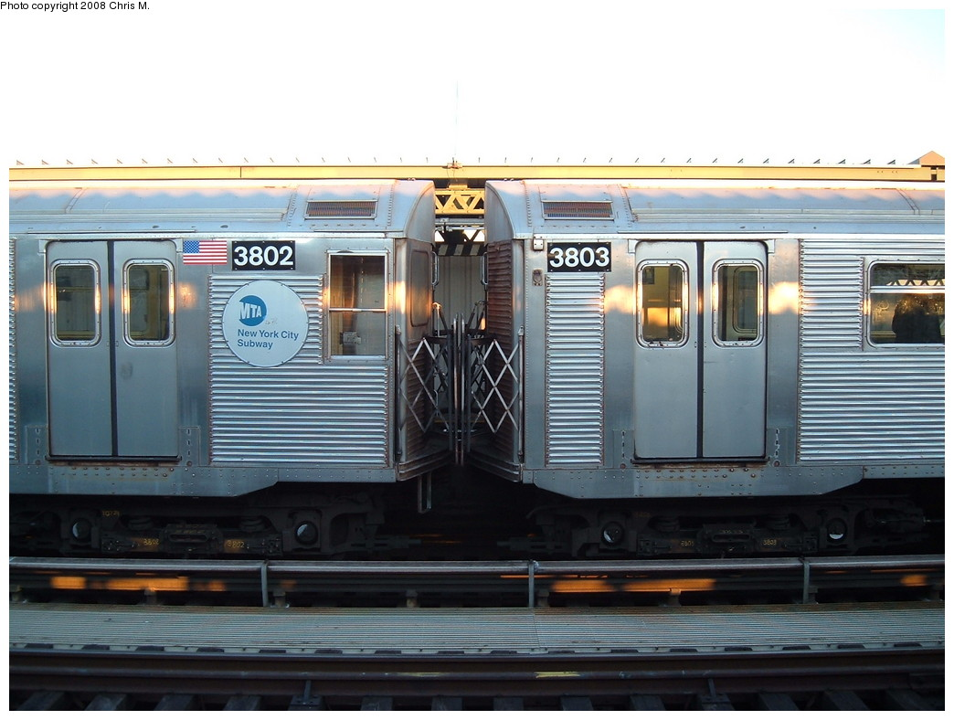 (202k, 1044x788)<br><b>Country:</b> United States<br><b>City:</b> New York<br><b>System:</b> New York City Transit<br><b>Line:</b> BMT Culver Line<br><b>Location:</b> Avenue X <br><b>Route:</b> F<br><b>Car:</b> R-32 (Budd, 1964)  3802/3803 <br><b>Photo by:</b> Chris M.<br><b>Date:</b> 1/23/2008<br><b>Viewed (this week/total):</b> 5 / 2145