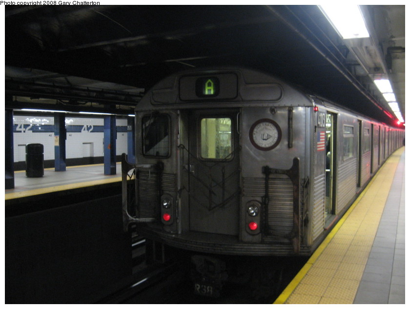 (109k, 840x635)<br><b>Country:</b> United States<br><b>City:</b> New York<br><b>System:</b> New York City Transit<br><b>Line:</b> IND 8th Avenue Line<br><b>Location:</b> 42nd Street/Port Authority Bus Terminal <br><b>Route:</b> A<br><b>Car:</b> R-38 (St. Louis, 1966-1967)  4103 <br><b>Photo by:</b> Gary Chatterton<br><b>Date:</b> 1/22/2008<br><b>Viewed (this week/total):</b> 3 / 2649
