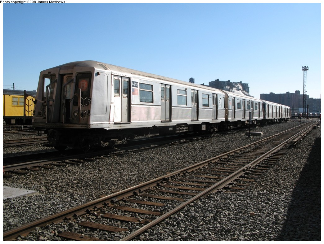 (243k, 1044x788)<br><b>Country:</b> United States<br><b>City:</b> New York<br><b>System:</b> New York City Transit<br><b>Location:</b> Coney Island Yard<br><b>Car:</b> R-40 (St. Louis, 1968)  4448 <br><b>Photo by:</b> James Matthews<br><b>Date:</b> 1/21/2008<br><b>Viewed (this week/total):</b> 0 / 1219