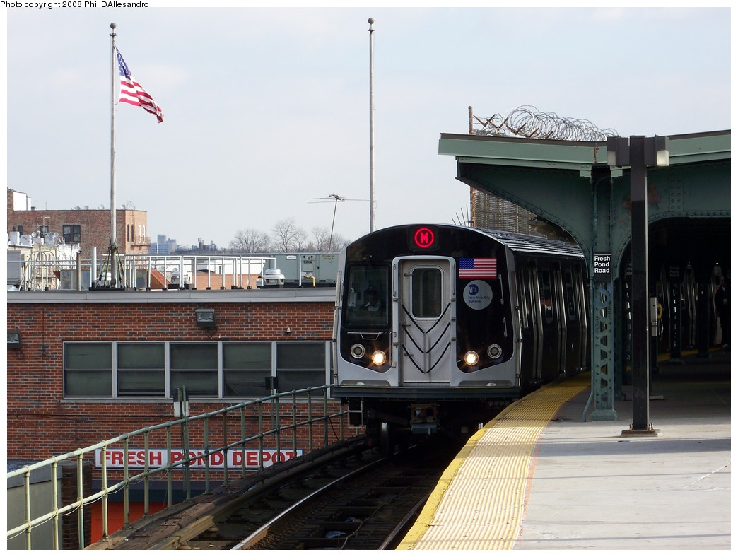 (203k, 1044x788)<br><b>Country:</b> United States<br><b>City:</b> New York<br><b>System:</b> New York City Transit<br><b>Line:</b> BMT Myrtle Avenue Line<br><b>Location:</b> Fresh Pond Road <br><b>Route:</b> M<br><b>Car:</b> R-160A-1 (Alstom, 2005-2008, 4 car sets)   <br><b>Photo by:</b> Philip D'Allesandro<br><b>Date:</b> 2/2/2008<br><b>Notes:</b> First time ever R160s operated the M Line in service.<br><b>Viewed (this week/total):</b> 1 / 2609