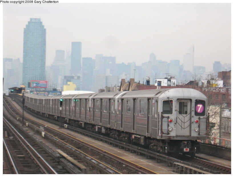 (109k, 820x620)<br><b>Country:</b> United States<br><b>City:</b> New York<br><b>System:</b> New York City Transit<br><b>Line:</b> IRT Flushing Line<br><b>Location:</b> 46th Street/Bliss Street <br><b>Route:</b> 7<br><b>Car:</b> R-62A (Bombardier, 1984-1987)  2095 <br><b>Photo by:</b> Gary Chatterton<br><b>Date:</b> 1/29/2008<br><b>Viewed (this week/total):</b> 0 / 1211