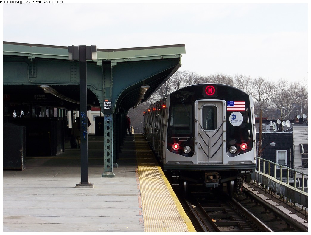 (191k, 1044x788)<br><b>Country:</b> United States<br><b>City:</b> New York<br><b>System:</b> New York City Transit<br><b>Line:</b> BMT Myrtle Avenue Line<br><b>Location:</b> Fresh Pond Road <br><b>Route:</b> M<br><b>Car:</b> R-160A-1 (Alstom, 2005-2008, 4 car sets)  8329 <br><b>Photo by:</b> Philip D'Allesandro<br><b>Date:</b> 2/2/2008<br><b>Notes:</b> First time ever R160s operated the M Line in service.<br><b>Viewed (this week/total):</b> 1 / 1671