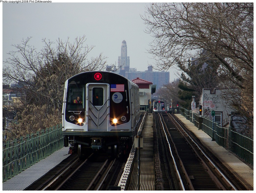 (309k, 1044x788)<br><b>Country:</b> United States<br><b>City:</b> New York<br><b>System:</b> New York City Transit<br><b>Line:</b> BMT Myrtle Avenue Line<br><b>Location:</b> Fresh Pond Road <br><b>Route:</b> M<br><b>Car:</b> R-160A-1 (Alstom, 2005-2008, 4 car sets)  8332 <br><b>Photo by:</b> Philip D'Allesandro<br><b>Date:</b> 2/2/2008<br><b>Notes:</b> First time ever R160s operated the M Line in service.<br><b>Viewed (this week/total):</b> 1 / 2063