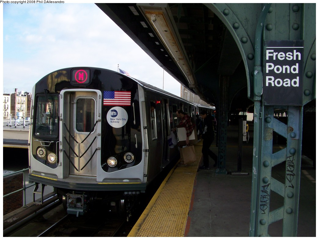 (196k, 1044x788)<br><b>Country:</b> United States<br><b>City:</b> New York<br><b>System:</b> New York City Transit<br><b>Line:</b> BMT Myrtle Avenue Line<br><b>Location:</b> Fresh Pond Road <br><b>Route:</b> M<br><b>Car:</b> R-160A-1 (Alstom, 2005-2008, 4 car sets)  8412 <br><b>Photo by:</b> Philip D'Allesandro<br><b>Date:</b> 2/2/2008<br><b>Notes:</b> First time ever R160s operated the M Line in service.<br><b>Viewed (this week/total):</b> 0 / 2228