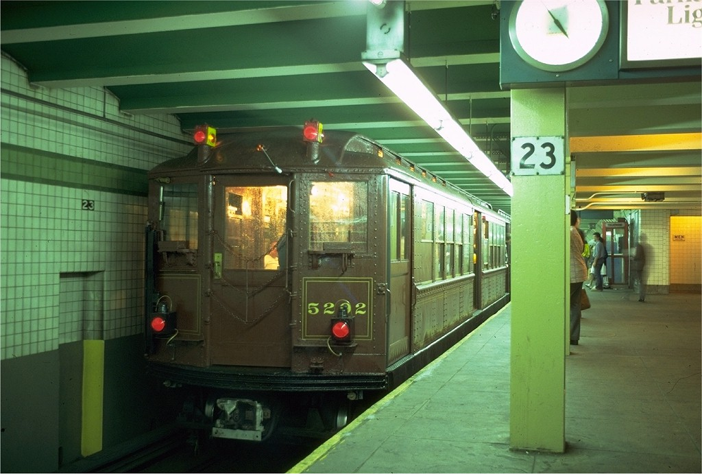 (176k, 1024x691)<br><b>Country:</b> United States<br><b>City:</b> New York<br><b>System:</b> New York City Transit<br><b>Line:</b> IND 6th Avenue Line<br><b>Location:</b> 23rd Street <br><b>Route:</b> Fan Trip<br><b>Car:</b> Low-V (Museum Train) 5292 <br><b>Photo by:</b> Doug Grotjahn<br><b>Collection of:</b> Joe Testagrose<br><b>Date:</b> 5/12/1979<br><b>Viewed (this week/total):</b> 2 / 3959