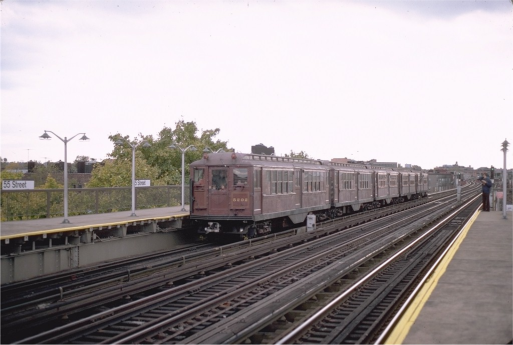 (172k, 1024x689)<br><b>Country:</b> United States<br><b>City:</b> New York<br><b>System:</b> New York City Transit<br><b>Line:</b> BMT West End Line<br><b>Location:</b> 55th Street <br><b>Route:</b> Fan Trip<br><b>Car:</b> Low-V (Museum Train) 5292 <br><b>Photo by:</b> Steve Zabel<br><b>Collection of:</b> Joe Testagrose<br><b>Date:</b> 11/1/1980<br><b>Viewed (this week/total):</b> 0 / 2272